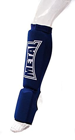 Metal Boxe Protège-tibias/pieds Bleu Taille L