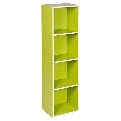 1, 2, 3, 4Etagen Holz Bücherregal Regalsystem Display Aufbewahrung Holz Regal Böden Einheit, grün, 4 Ablagefächer (Bücherregal Grün)