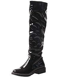 Y2Y Studio Bottes Femmes Longues Noires Cuir Vernis Talons Conforts Plat  3cm Bout Rond Slip- 3fd3ce5cfe16