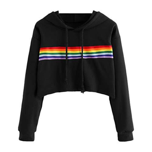 MIRRAY Damen Herbst Langarm Rainbow Color Kapuzen Sweatshirt Bluse Tops Pullover