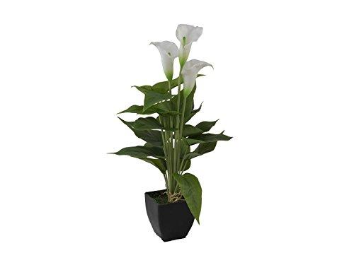 artplants - Künstliche Calla Jamila im Topf, 3 Blüten, weiß, 40 cm - Kalla Topfblume künstlich/Kunstblumen Deko