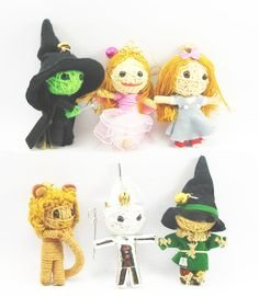 Wizard of Oz 6 x Voodoo String Doll Keychain bag charm Set