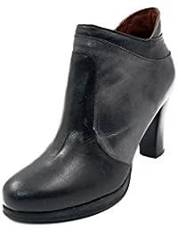 Botines mujer PITILLOS en piel color negro combinado color gris - 1488 - 559