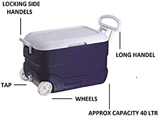 Princeware Insulated Chiller Ice Box 40 LTR with Wheels and Tap (Blue)