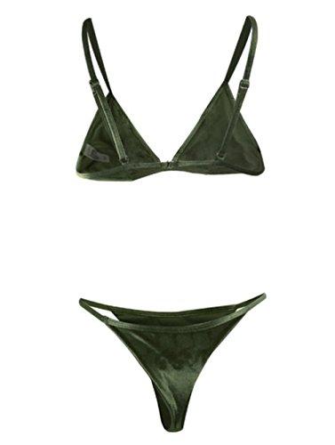 Y&L Erwachsenen Zwei Stücke Bikins Setzt Pleuche Double-sided Reversible Badeanzug Triangle Thong Brasilianische Bademode Dunkelgrün
