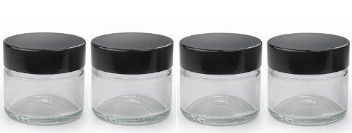 Barattolo vasetto di vetro trasparente 15ml con coperchio nero x4 per burrocacao erbe spezie crema viso unguenti candele