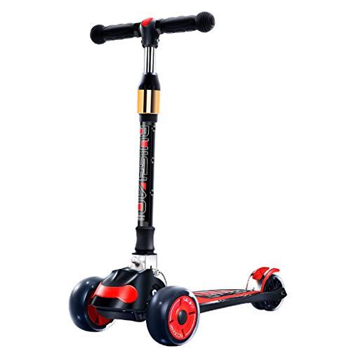 HYE-ROLLER Razor Scooter für Kinder von 2 bis 12 Jahre alt 3 Räder schieben Tretrollers Einfach Folding Deluxe Aluminium T-Bar Extra Wide Deck Kinder, Jungen-Mädchen-Schwarz (Razor-roller Für Mädchen)