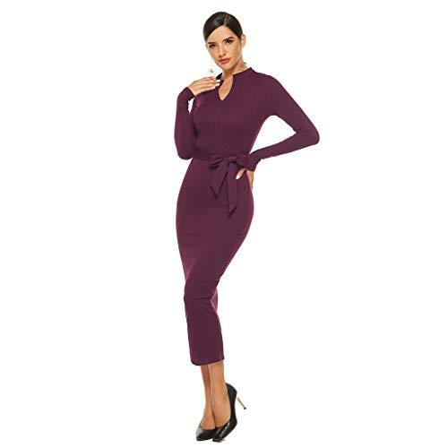 Floweworld Damen Bodycon Kleider Winter Fahion Langarm Slim Fit Langes Kleid Solide V-Ausschnitt Bandage Strickkleider Enge Freizeitkleidung