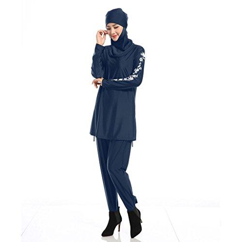 Haorw Muslimischen Badeanzug - Muslim Islamischen Modest Swimwear Burkini für Muslimische Frauen - Hijab Abnehmbaren (M, Blau) - 3