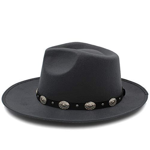 XACQuanyao Moda Chapeau Wide Brim Autumn Lady Mujer Caliente Sombrero de Copa Jazz Cap Invierno Fedora Hat para Mujer Hombre Sombrero de Lana con Correa de Cuero (Color : Gris, tamaño : 56-58CM)