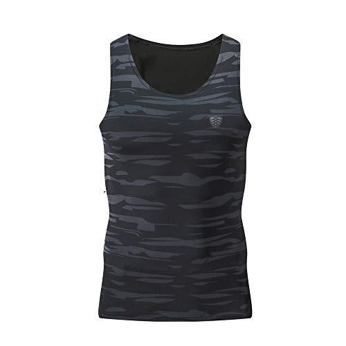 YCQUE Unterhemd Herrenmode Workout Fitness Sport Gym Laufen Herren Yoga Athletic Camouflage Shirt Top Tagesbluse Enge Tankweste Tanktops T-Shirts Plus Size, Schwarz
