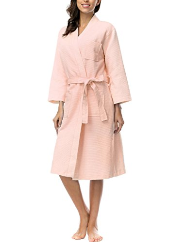 Damen Atmungsaktiver Bademantel Schlafanzug Kimono Style Pink Gr.L