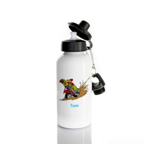 Striefchen® Trinkflasche für Jungen Motiv: Motorrad Name: Tom