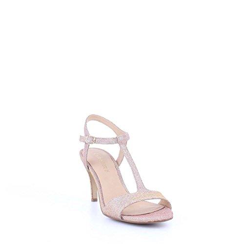 Sandalo a T Cafè Noir art.MNB972 in tessuto glitterato platino/cipria Platino