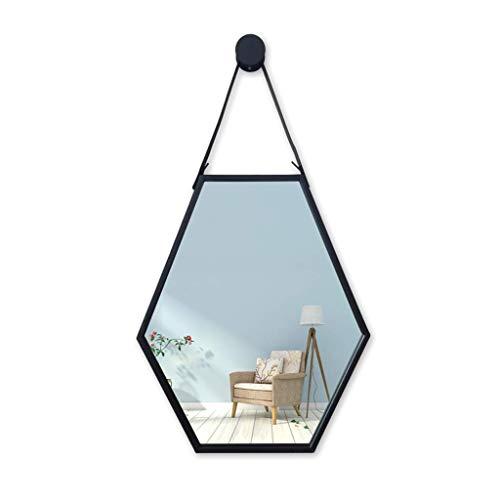 JH& Wandspiegel Aus Metall Badezimmerspiegelgürtel Zum Aufhängen   Badezimmerspiegel   Sechseck-Wandspiegel Home Dekoration #++ (größe : 47x3x57cm)