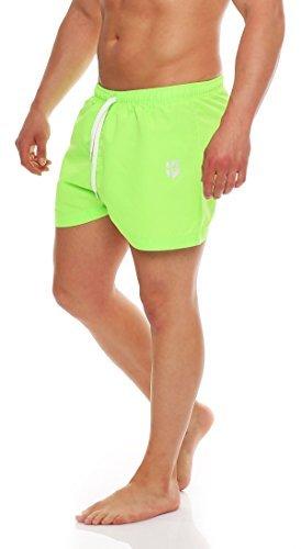 Gennadi Hoppe Herren Badeshorts Badehosen Swim Shorts kurz (L, neongrün) (Herren Lose Adidas Kurze)