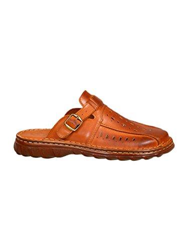 Chaussures Pour Homme Reel Cuir De Bison Sandales Confortables De Forme Orthopedique Modele 878 Cognac