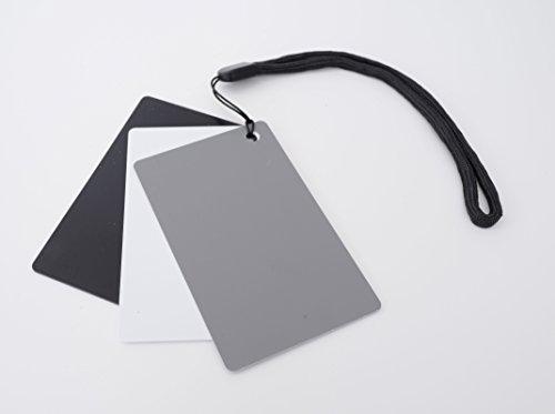 Ares Foto® 3in1 Graukarte für den manuellen Weißabgleich und Belichtungsmessung. Mit praktischer Tragekordel und im Scheckkartenformat. Reflektiert 18% des Lichts. Kleine Größe: 5,5 cm x 8,5 cm (Grau Karte)