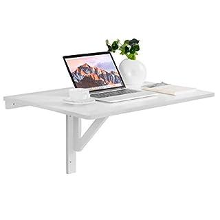COSTWAY Wandklapptisch weiß, Wandtisch klappbar, 80x60cm, aus Holz