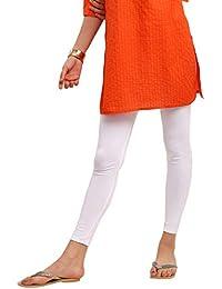 SRISHTI By fbb Women's Solid Ankle Length Leggings (White, XL)