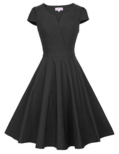 Belle Poque 50s Vintage Rockabilly Kleid Damen Retro Kleid Knielang Swing Kleid BP372 BP372-1