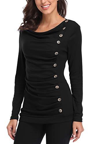 MISS MOLY Damen Langarmshirt Pullover Tunika Bluse T Shirt mit Knöpfen Schwarz Large