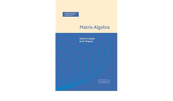 Matrix Algebra (Econometric Exercises)