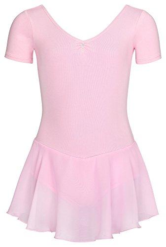 (tanzmuster Kinder Kurzarm Ballettanzug Betty aus Baumwolle mit Glitzersteinen und Chiffon Röckchen in rosa, Größe:140/146)