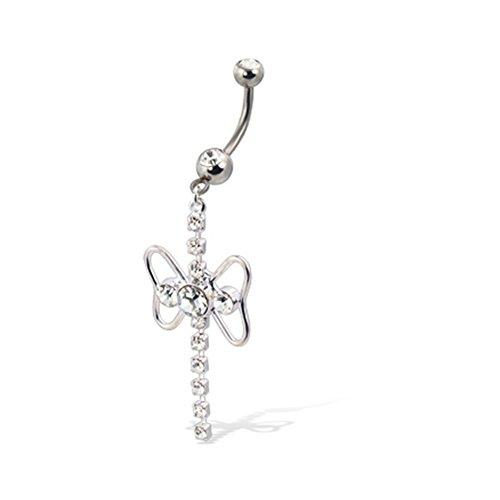 Bauchnabel Ring mit einem baumeln, Schmetterling Form, und Jeweled Top-Ball