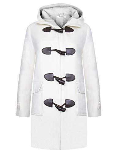 APTRO Damen Mäntel Lange Dufflecoat Winter Wollmantel WS03 Cream L - Cream Mantel
