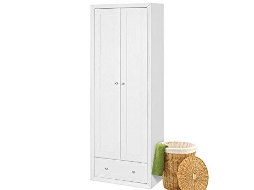 Loft24 JAMY Kleiderschrank mit Kleiderstange Schlafzimmerschrank Drehtüren Schrank Diele weiß MDF