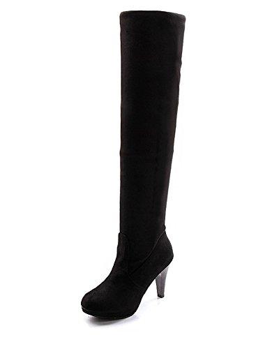 Minetome Mode Frauen Overknee über Knie Stretchy Schuhe High Heel Stiefel( Schwarz EU 39 ) (Schwarze Stiletto-plattform-knie-stiefel)