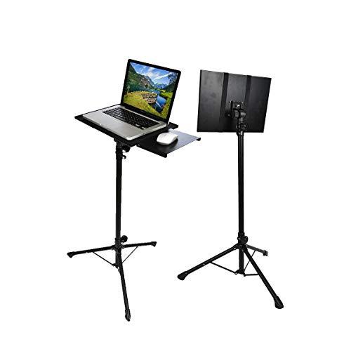 Qucking Light Laptop-Ständer, Projektor Stand Folding Heavy Duty Stativ Basis und alle Metall Regal/Tray tragbare einstellbar für Heimkino/Unterhaltung & Präsentation Heavy Duty Tray