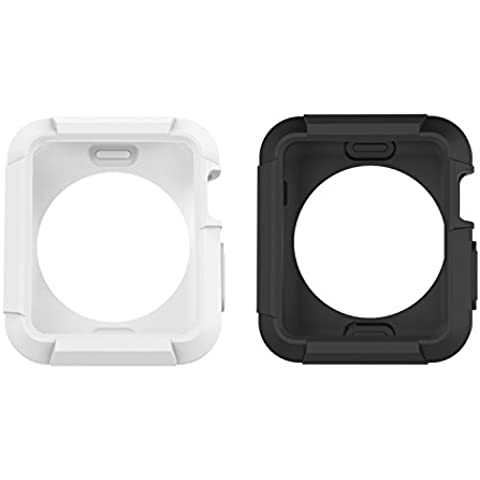 Apple Watch Case, Moko [2-pack] Rugged Armor Flexible Stylized Soft TPU Round-the-Clock Protective Funda para Apple Watch 42mm Version (2015) - Black & White (Not Fit Apple Watch 38mm version 2015)