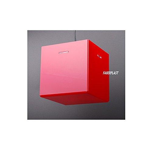Faberplast Lampe avec ampoule, rouge, 25 x 25 x 25 cm