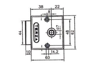 1 Drehstangenschloss Schrankschloss Möbelschloss Terza Metall vernickelt 38mm inklusive Zubehör