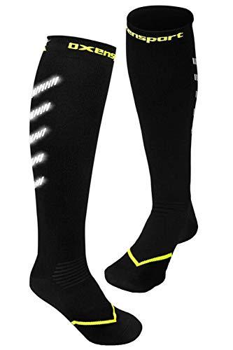 OXENSPORT Kompressionsstrümpfe Sport mit Reflektoren, Kompressionssocken Medizinisch (1 Paar), Damen & Herren, Joggen,Triathlon,Rennrad,Flugzeug,Handball