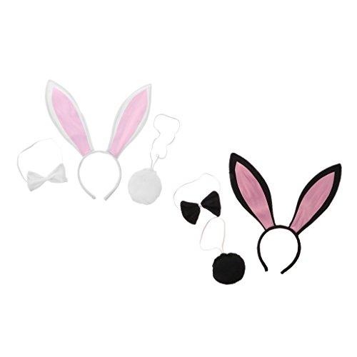 hen Pink Black Rabbit Bunny Ohren Stirnband Schwanz Fliege Cosplay Kleid ()