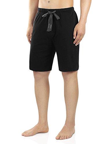 Genuwin Herren Baumwolle Dehnbare Pyjama Shorts aus Jersey Hausanzug Schlafanzug PJ Unterseite mit Kordelzug 1er Pack (S,Schwarz ) (Baumwolle Pj Shorts)