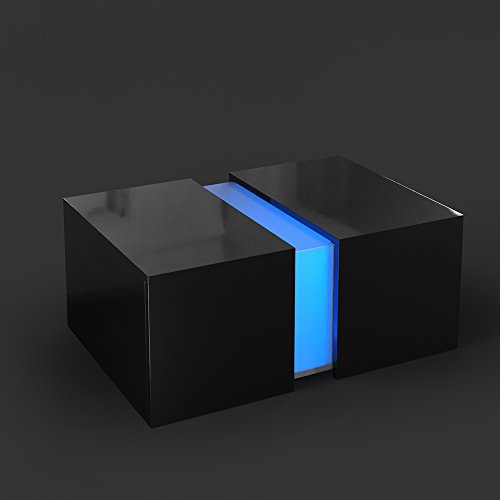 Couchtisch LED Schwarz Hochglanz Loungetisch Wohnzimmer Tisch Sofa Couch Modern Edles Acryl Dekor RGB Farben Inkl Fernbedienung