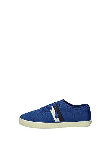 POLO RALPH LAUREN - Baskets basses - Homme - Sneakers Hanford Canvas Blanc Rayures Bicolores Bleu Vert pour homme