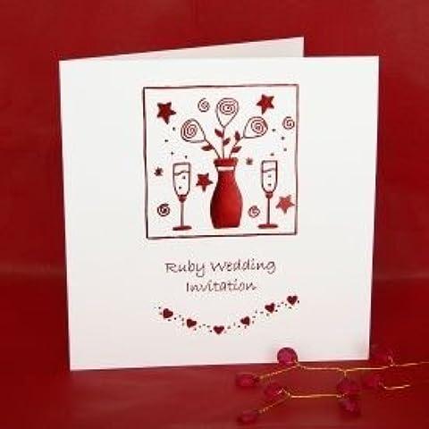 Ruby invitaciones aniversario de boda - 5 unidades