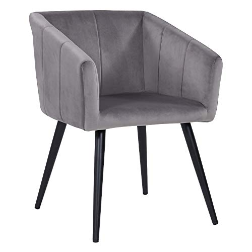 Duhome Esszimmerstuhl aus Stoff (Samt) Grau Farbauswahl Retro Design Stuhl mit Rückenlehne Sessel Metallbeine 8065