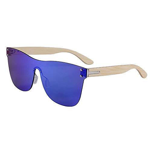 Yiph-Sunglass Sonnenbrillen Mode Katzenaugen einteiliger Stil farbige Linse Bambus Sonnenbrille UV-Schutz handgefertigt für Männer, Frauen (Farbe : C3)
