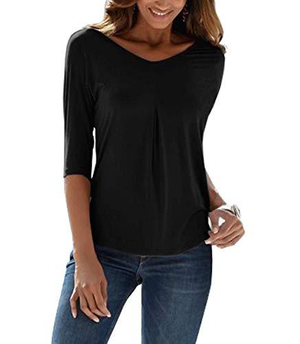 TrendiMax Damen Sommer T-Shirt V-Ausschnitt Lässige Stretch Falten Bluse Tops Halbarm Baumwollshirt Oberteile (Schwarz einfarbig, L) -
