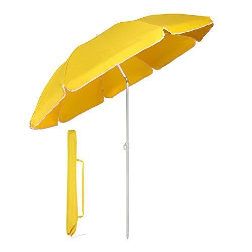 Sekey® Parasol Ø 160 cm inclinable pour Patio Jardin Balcon Piscine Plage Jaune Rond Sunscreen UV20+