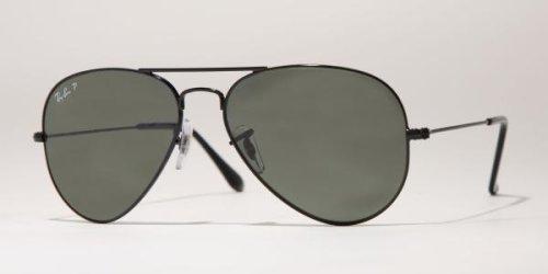 Preisvergleich Produktbild Ray-Ban schwarz polarisierten Green Klassischen G-15 55mm AVIATOR LARGE METAL Sonnenbrillen