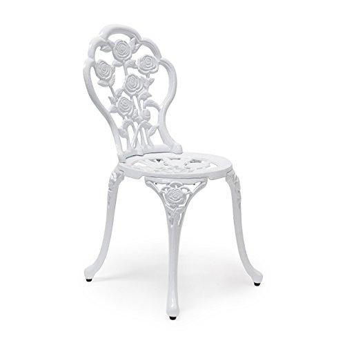 Relaxdays Chaise de jardin bistrot style ancien antiquités campagne bar terrasse restaurant H x l x P 81 x 41 x 41 cm motifs fleurs en aluminium, blanc