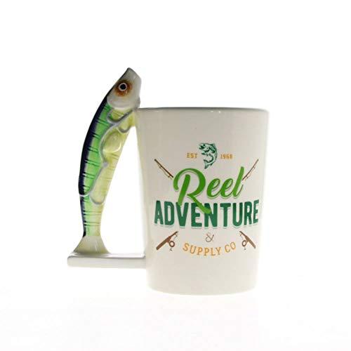 Seaside Ceramic (XIAMD Tasse 1Piece Fish Mug Novelty Fishing Mug Fisher Man Mug Coffee Cup Ceramic Mug Seaside Gift)