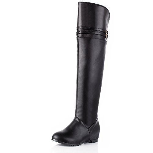 ZQ@QXcadeau de Noël L'Europe et de l'United States Code PU cuir chaussures bottes pente du genou avec l'augmentation de petites bottes